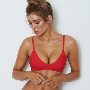 White Fox Boutique L'Escala Bikini Top in Red